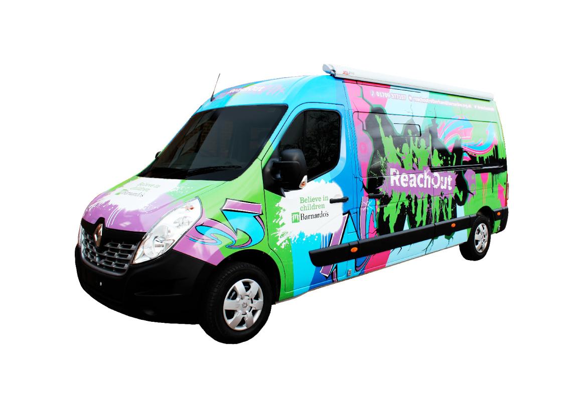Dakini Designed Reach Out van graphics for Barnardo's
