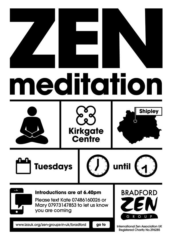 Bradford Zen group meditation leaflet for Zen class in Shipley by Dakini Design